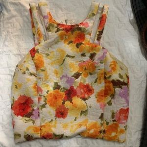 Flower print fitted crop top